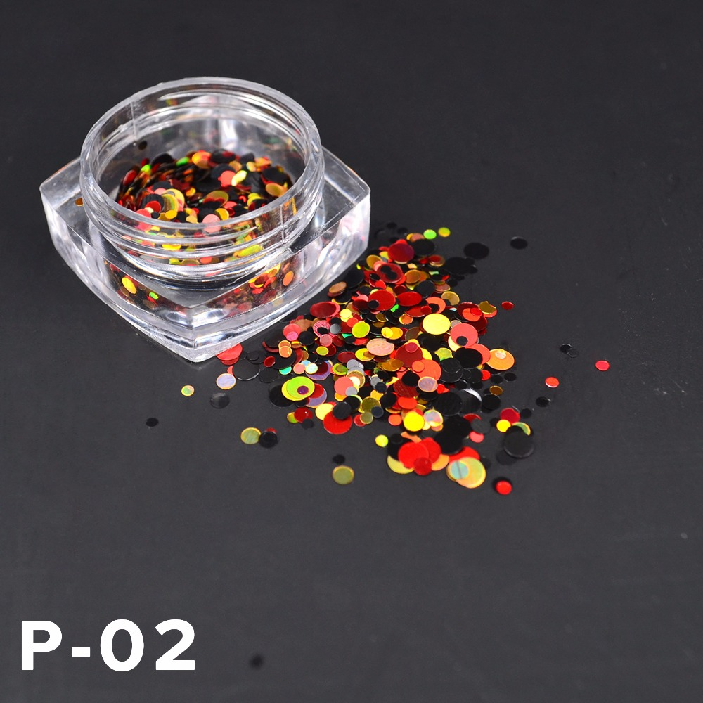 Image 2 - LCJ New 1mm 3mm Mini Round Thin Nail Art Glitter Decoration Colorful DIY Glitter Paillette Design Nail Art Sequin Tips-in Nail Glitter from Beauty & Health