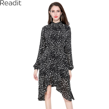 Readit Irregular Floral Printed Chiffon Dress Long Sleeve Women Dresses Summer A Line Deep Stand Collar Dress Vestidos D2893 floral chiffon dress long sleeve
