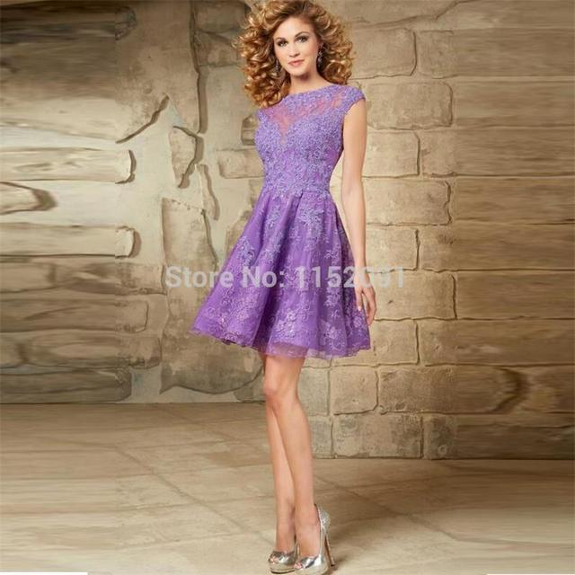 89810c426fa Sexy Open Back Sheer New Lace A Line Short Purple Homecoming Dresses 2016  Summer Cheap Junior School Party Prom Dress For Club