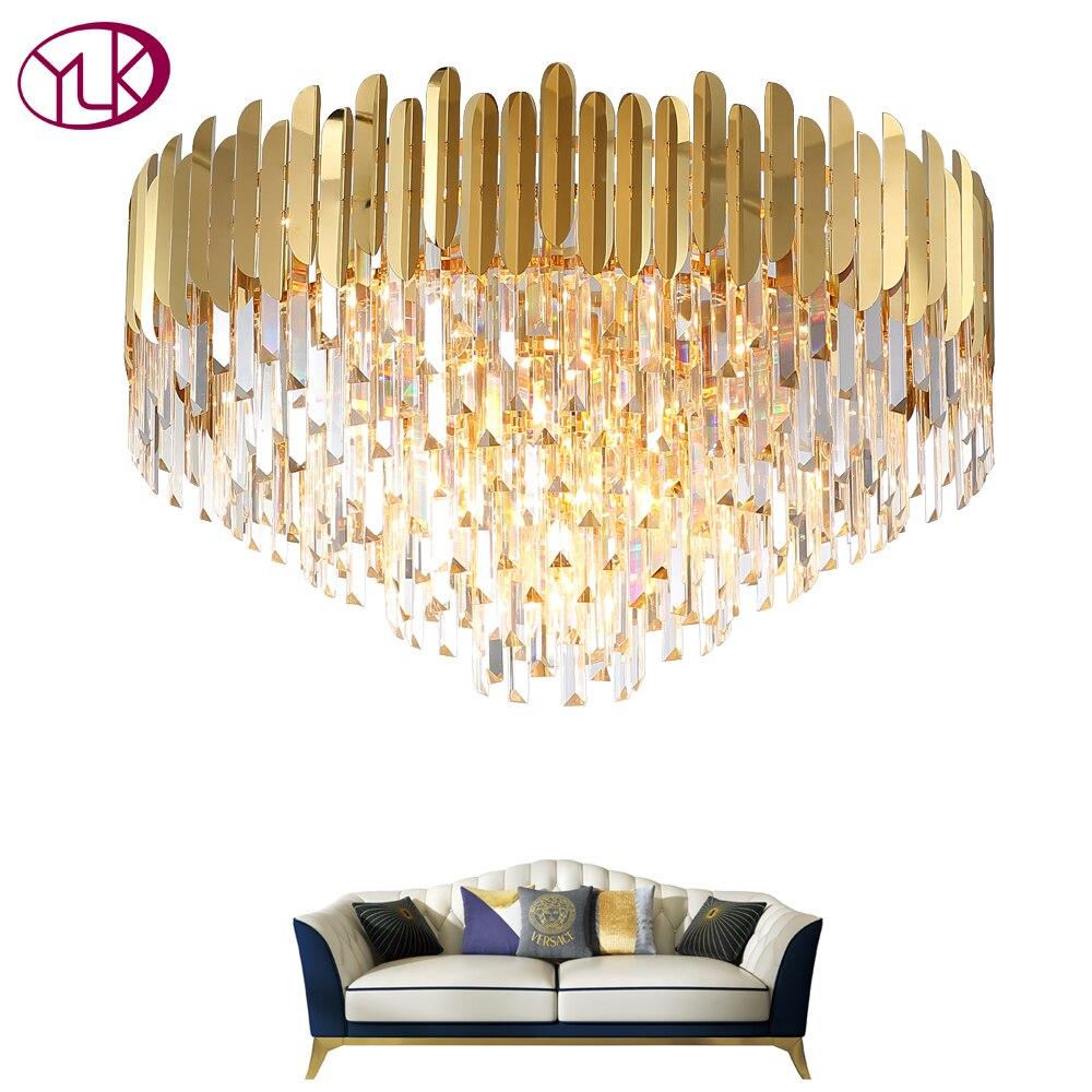 Youlaike Modern Crystal Chandelier Lighting For Ceiling Luxury Gold LED Cristal Lustre AC110 240V Round Living