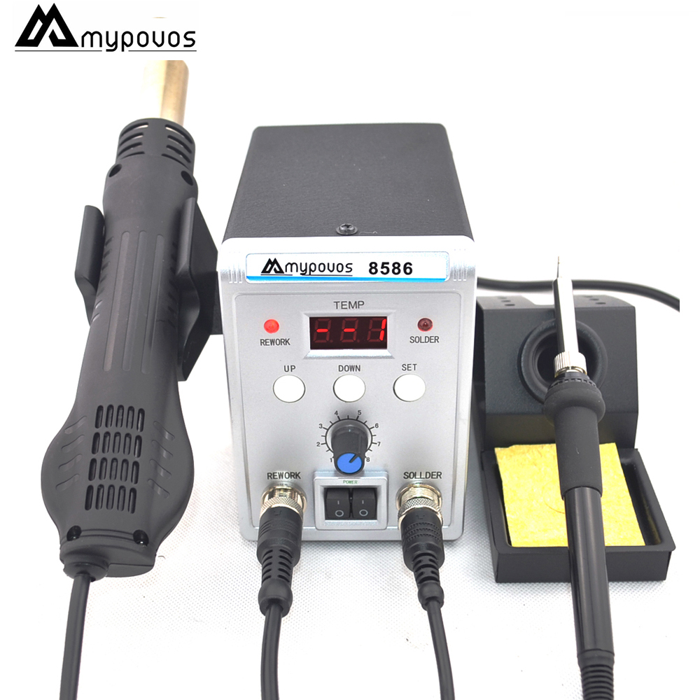 цена на MYPOVOS 8586 750W Soldering Iron Soldering Station hot air Adjustable Digital Display Rework station gun for IC SMT Professional