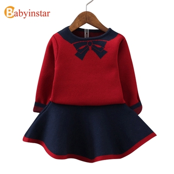 Babyinstar New Fashion Girls Clothing Set Top + Dress 2pcs For Baby Girls Clothes Children Suits Kids Autumn Knitted Outerwear