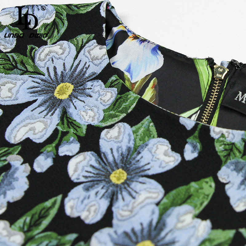 LD LINDA DELLA Runway Designer Summer Women Dress Sleeveless Jacquard Floral Print Vintage Mini Short Dress vestidos Female in Dresses from Women 39 s Clothing