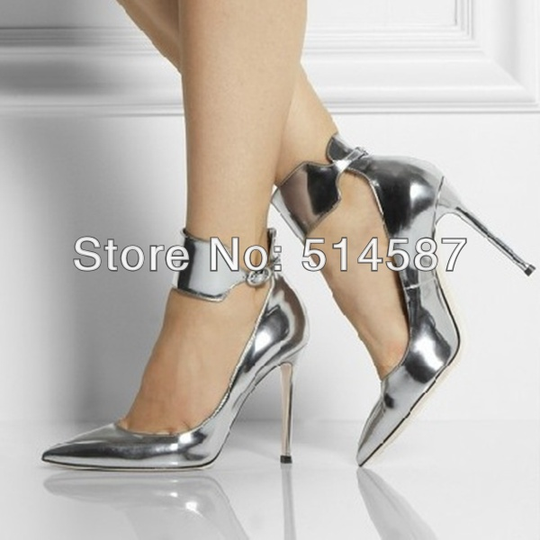 8032c58e3cb9 New arrival women metallic silver pumps pointed toe high heel shoes spring  ankle strap buckle pumps dress shoes size 35 to 41