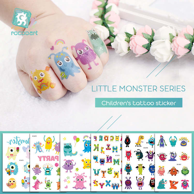 Rocooart Children Tattoo Little Monster Fake Tattoo Kids Gift Temporary Tattoo Sticker Cartoon Tatuagem Party Tatuaje Flash Taty