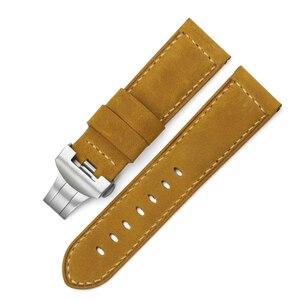 Image 2 - 24 milímetros Itália Couro faixa de Relógio Amarelo Macio Watch Band Cinta com Fivela de Implantação para 24mm PANERAI Relógios Pulseira