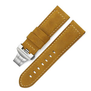 Image 2 - 24mm Italy Genuine Leather Watch band Yellow Soft Watch Band Strap with Deployment  Buckle for 24mm  Watches Bracelet