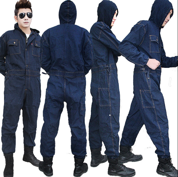 Work Clothing All Cotton Jeans Electric Welding Auto Repair Painting Machine Dustproof Labor Protective Overalls Free