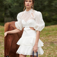 2019 Spring New Arrival Women Hollow Out Dresses Puff Sleeve Waistless Ruffled Style Sexy White Dress Women Party Dress Vestido