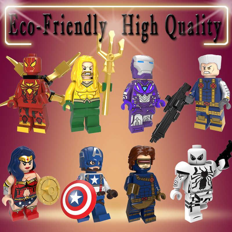 Blocos de construção super heróis anti-veneno mulher maravilha cabo capitão américa cyclops aquaman figuras para crianças brinquedos pg8209