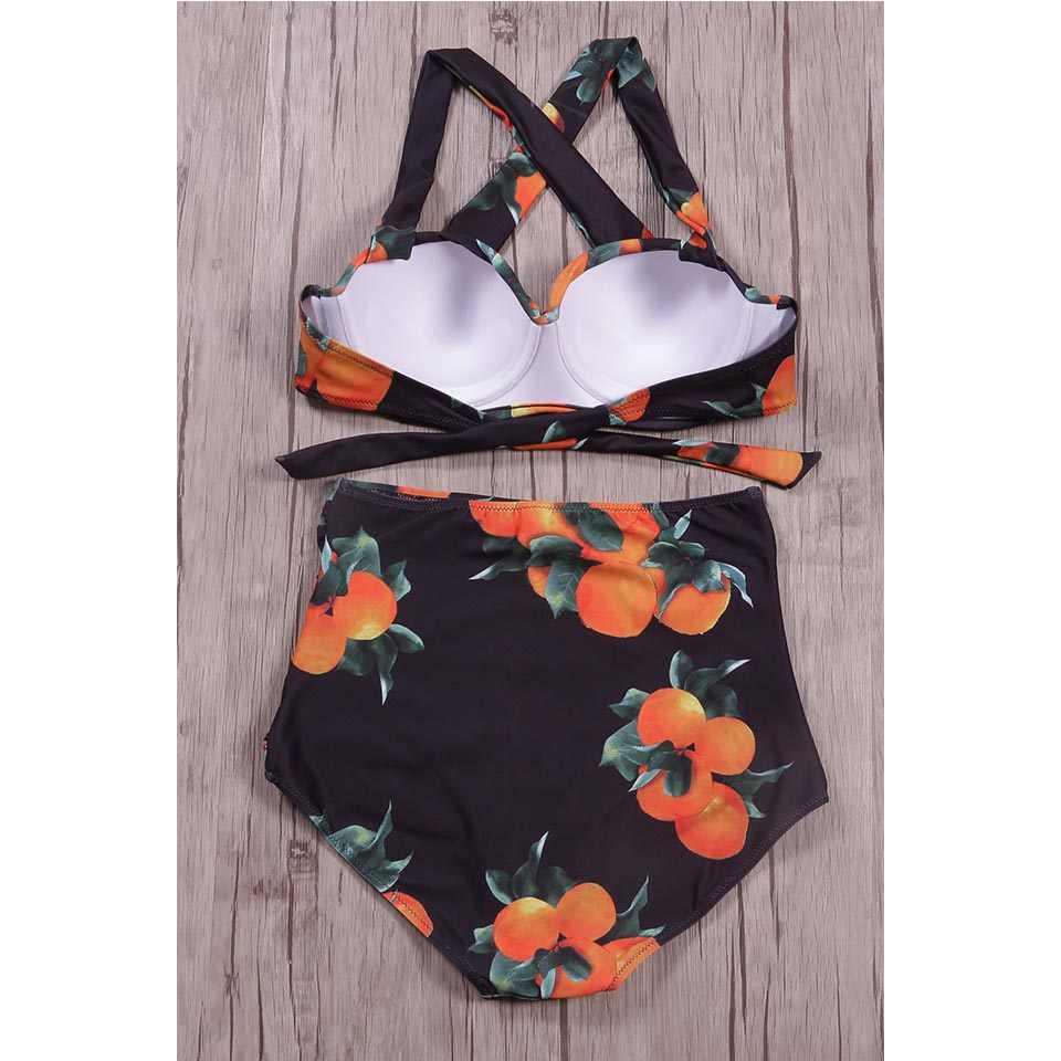 SUNRAINBOW mujeres Push Up Bikini Set sólido estampado traje de baño 2019 nuevo traje de baño de cintura alta Bikinis Vintage Retro Halter traje de baño