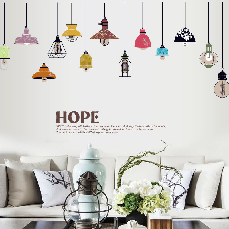 Colorful ceiling lamp wall stickers for kids rooms kitchen living room wallpaper refrigerator sticker wall decal