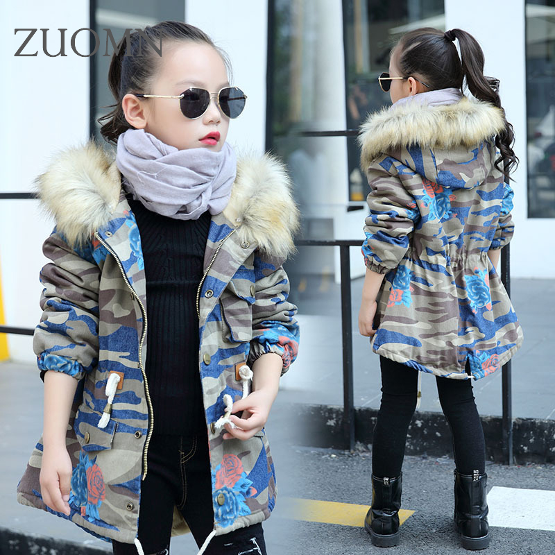 Girls Korean Camouflage hooded Jackets Long Cotton-padded Clothes Child Wear Kids warm Coat Camouflage Outdoor Outerwear YL310 south korean female lovely long section of camouflage coat loose hooded feather padded knee thickening students winter coat