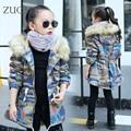 Niñas de Corea del Camuflaje con capucha Chaquetas Ropa Larga de Algodón acolchado Ropa Infantil Kids warm Coat prendas de Vestir Exteriores de Camuflaje Al Aire Libre YL310