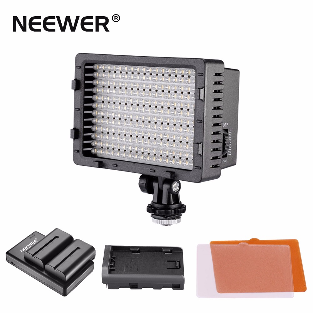 Neewer CN-160 LED Dimmable Ultra High Power Panel Video Light Kit: CN-160 LED Light, USB Battery Charger and Carrying Case for Canon Sony DSLR Cameras,DV Camcorders 2600 mAh Battery 2 Pentax Nikon