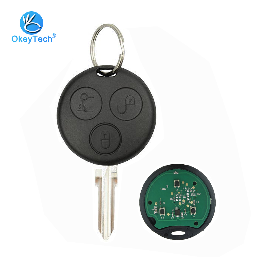 OkeyTech for Benz MB Mercedes <font><b>Smart</b></font> Fortwo <font><b>450</b></font> Forfour Roadster City Coupe 3 Button 433Mhz Uncut Blank Blade with <font><b>Key</b></font> Ring image
