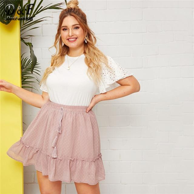 Dotfashion Plus Size Pink Dobby Mesh Drawstring Waist Ruffle Hem Skirt Women 2019 Summer Boho Spring Ladies Cute A Line Skirt 3