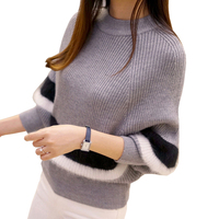 2016 New Autumn Women Sweaters Fashion O Neck Batwing Striped Pullovers Plus Size Loose Knitted Sweaters