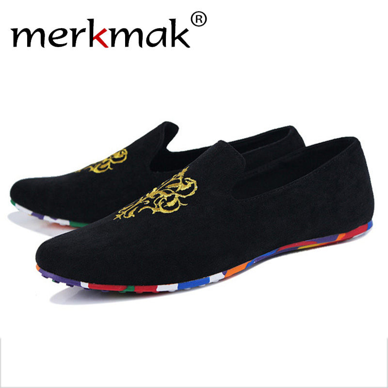 Merkmak Luxury Brand Flock Men Flats Shoes Fashion Casual Loafer Driving Flats Footwear Man Breathable Soft Moccasins Wholesales  men luxury brand new genuine leather shoes fashion big size 39 47 male breathable soft driving loafer flats z768 tenis masculino