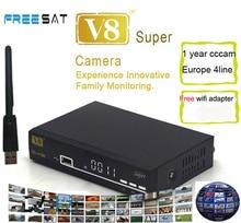 Freesat V8 супер + WiFi адаптер DVB-S2 AV-scart поддержка 3 г Wi-Fi IPTV спутниковый ресивер V8 Super HD Youtube freesat V8 приемник