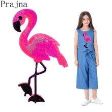 Prajna Große Nette Flamingo Patch Cartoon Eisen Auf Pailletten Patches Stickerei Patches Für Kleidung T-shirt Abzeichen Applique Decor DIY