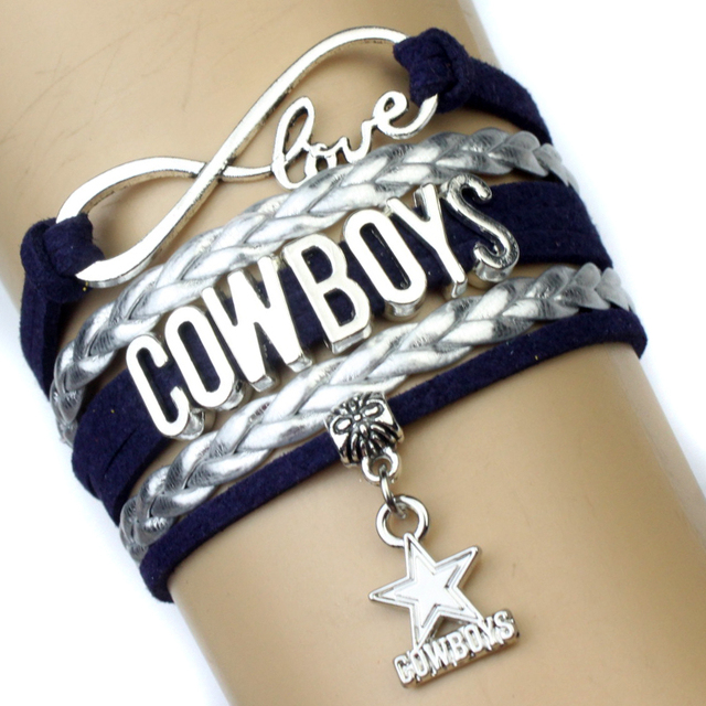 Infinity Love Dallas Cowboys Football Team Bracelet Navy Silver Custom Any Styles Bracelets Drop Shipping