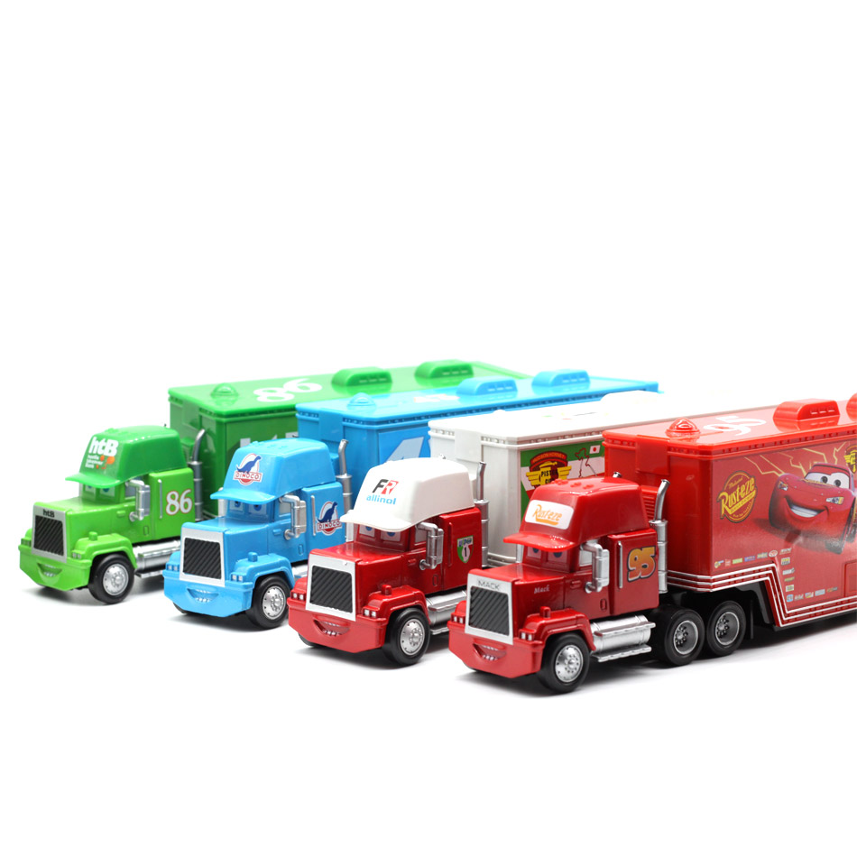 Купить с кэшбэком Disney Pixar Cars 4 Styles Mack Truck McQueen Uncle 1:55 Diecast Metal Alloy And Plastic Modle  Toys Car Gifts For Children