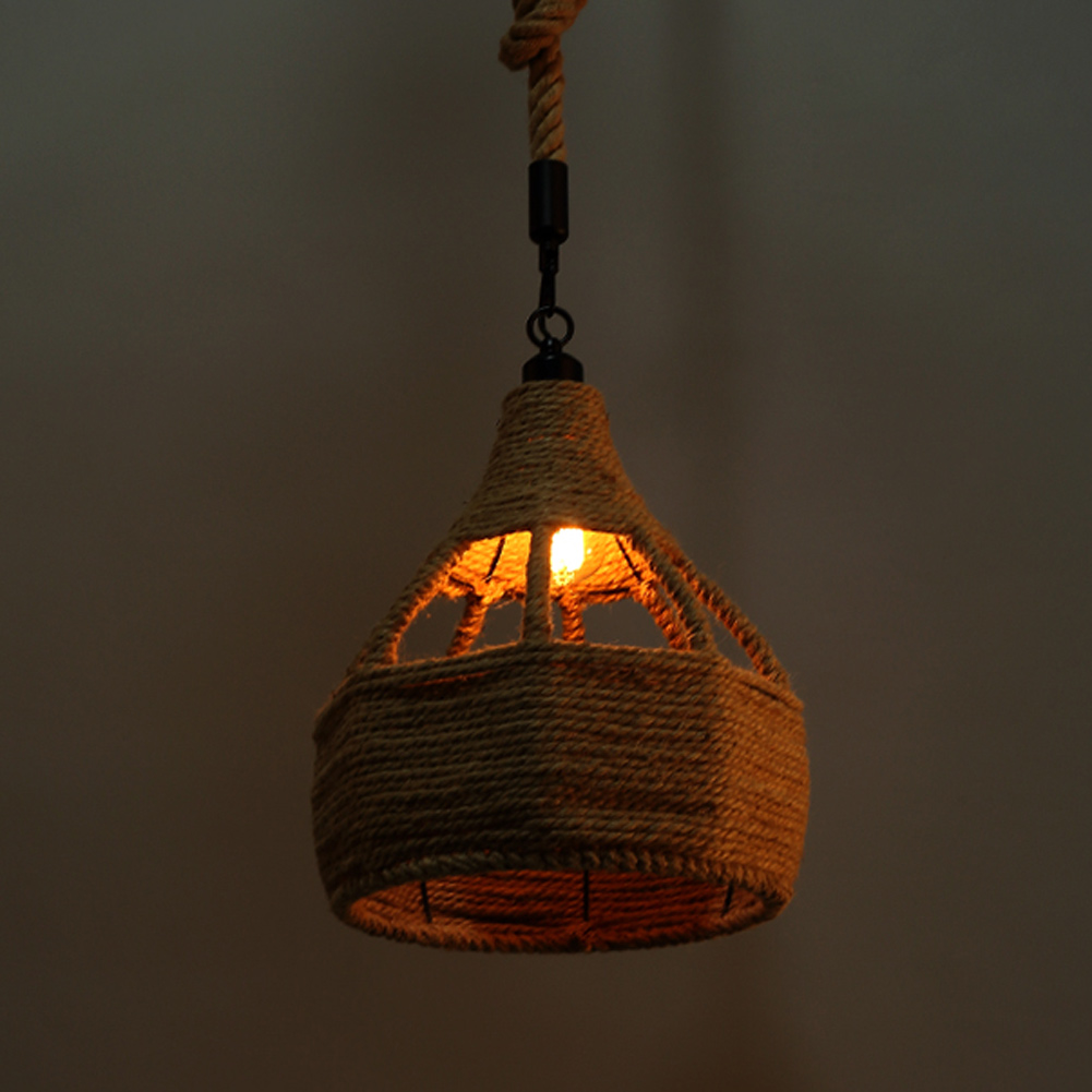 Creative industrial lamps - A012 Creative Personality Hemp Rope American Country Style Wrought Iron Pendant Light Vintage Industrial Lighting Cafe