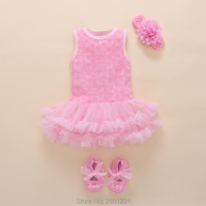 aa1992fbe6bb3 New Born Baby Girls Infant Dress&clothes Summer Kids Party Birthday Outfits  1-2years Shoes Set