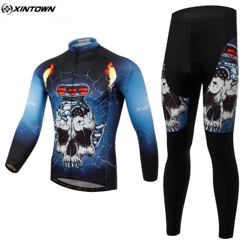 XINTOWN Men Long Cycling Jersey Set Winter Mtb Maillot Outdoor Sportswear Cycling Clothing Roupa Ciclismo Riding Clothing CC0370