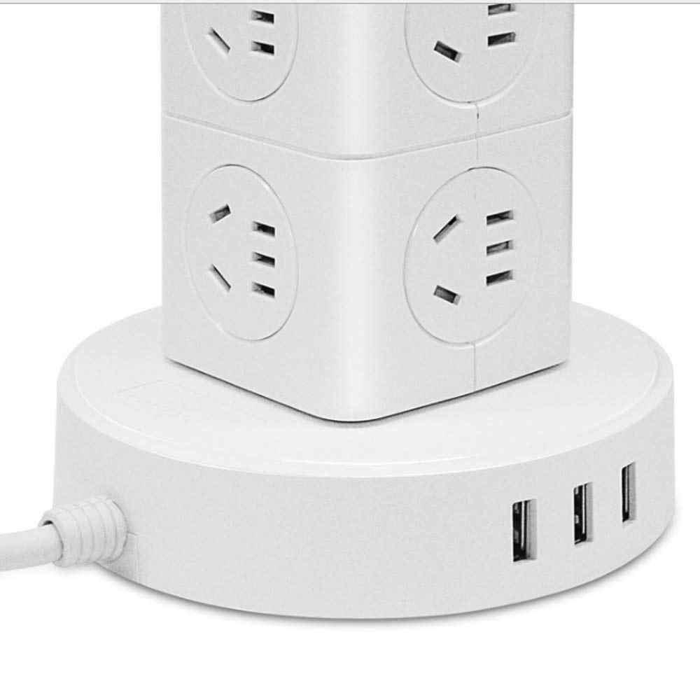 Pionowe listwy zasilającej wielu punktów wtyczka AU z gniazdem USB 2500 W zabezpieczenie przeciwprzepięciowe przełącznik 2.6 m przedłużacz do domu i biura