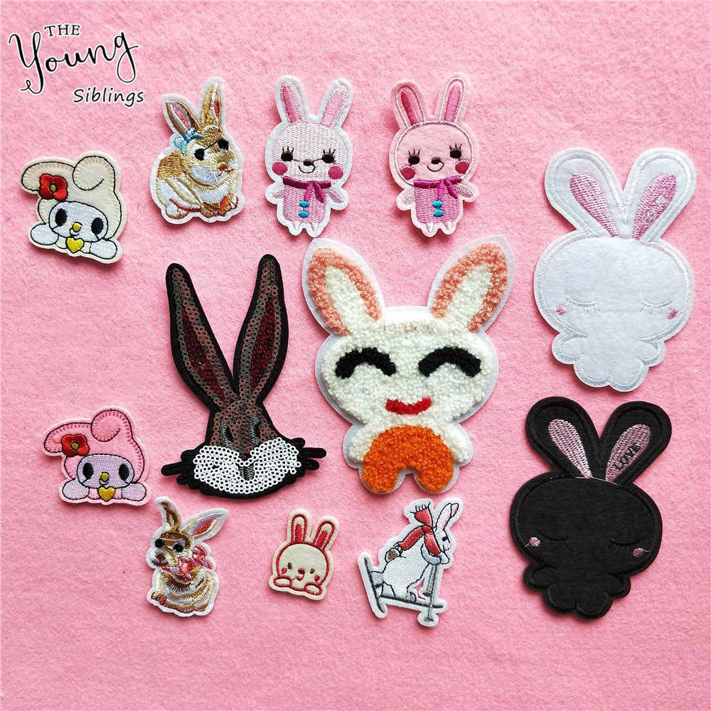 High quality DIY Patches Lovely Rabbit Adhesive Embroidery Applique Iron On Patches Clothing Pants Sewing Accessory Patches
