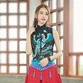 Tradición Diseño Pesada Bordado del Collar Del Soporte Sin Mangas de Lino del Algodón Pechugón camisa corta Para Las Mujeres 2016 de Moda de Verano Nueva