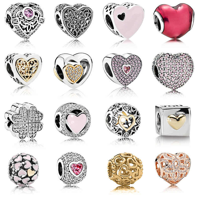 16 Style Diy Silver Beads Charms Rose Gold Love heart Hollow Crystal Beads for Women Original Pandora Charm Bracelet & Bangle