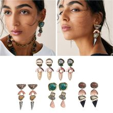 Ethnic Indian Tribal Silver Resin Stone Drop Statement Earrings Fashion Jewelry