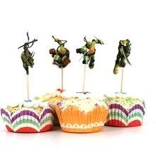 24 шт. анимационный фильм для мобильного телефона чехлы Молодежные мутанты Черепашки Ниндзя четыре бульон вечерние торт фигурки жениха и невесты; вечерние кекс украшения