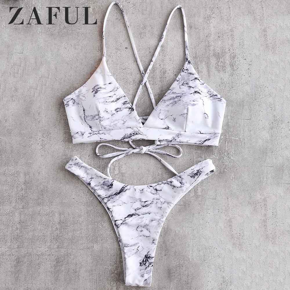 ZAFUL Bikini Marble Lace-Up Bikini Set Spaghetti Straps Wire Free Low Waisted Swim Suit Holiday Sexy Beach Swimwear Bathing Suit