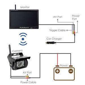 Image 4 - Accfly çift kablosuz monitör araba video kaydedici ters yedekleme arka görüş kamerası kamyon otobüs karavan Van Camper RV römork
