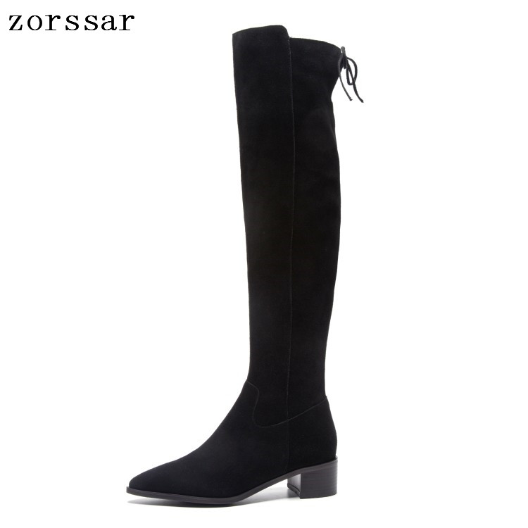 {Zorssar} Fashion Suede leather Female High Boots Winter shoes Nubuck leather Square High Heel women Over The Knee boots Size 43 xjrhxjr 2018 women over the knee boots sexy suede leather square high heel women shoes winter warm motorcycle boots size 35 43