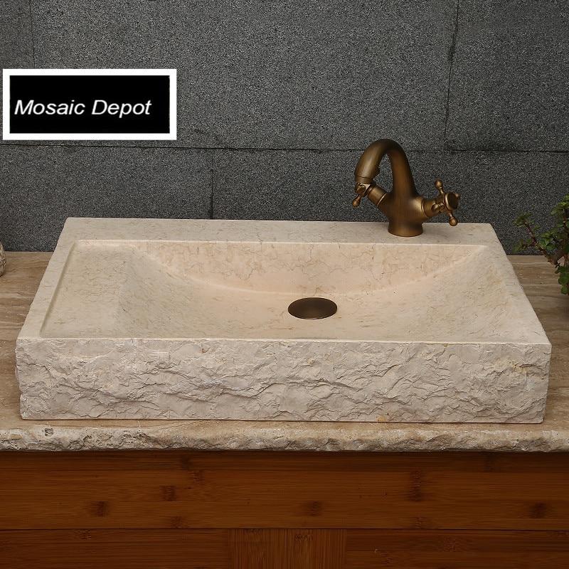 Creme Beige Marmor Stein Waschbecken Toilette Waschbecken Bad Stein