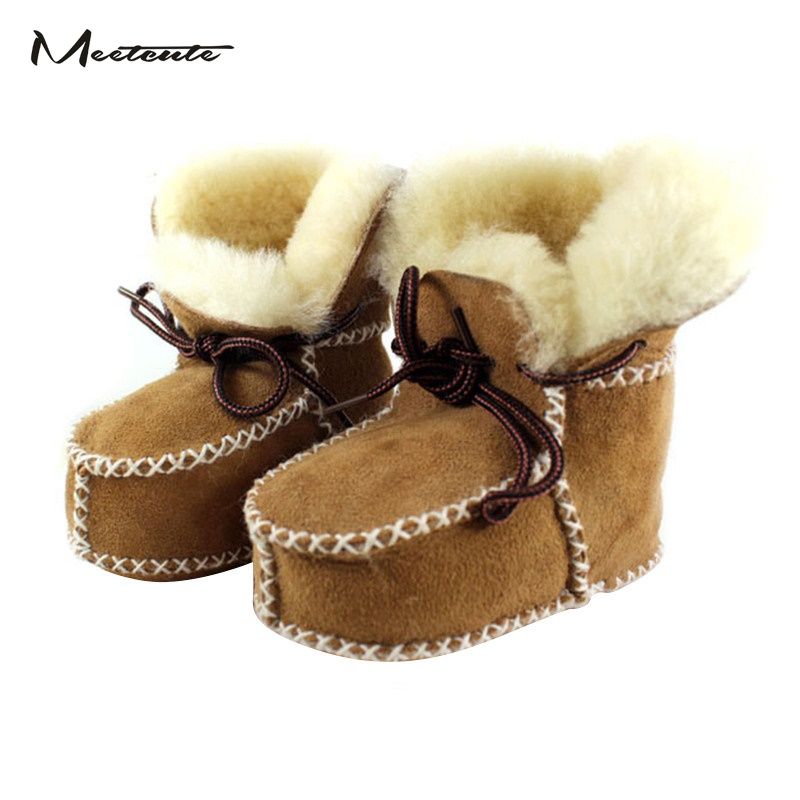 Meetcute Super Warm Infant Soft Bottom Snow Boots Lace Up Baby Boys Girls Moccasins Shoes Baby Prewalker Boots Camel/ Grey ...