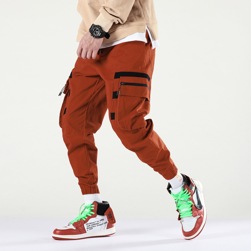 Men Trousers Harem-Pants Orange Streetwear Hip-Hop Side-Pockets Ankle-Length