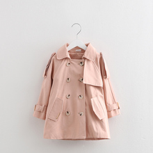 0068 2017 Shell kids girls long coat in winter, children warm double breasted jacket baby coat  Trench