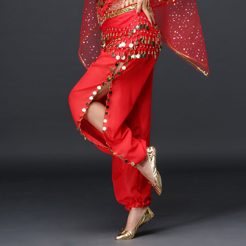 Hot Sale Wholesale Belly Dance Clothes Chiffon Coins Dance Pants Girls Belly Dance Trousers Sexy Stage Wear