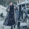 Осень-зима мужчины искусственного меха верхняя одежда пальто, с отложным воротником с длинным рукавом мужская пальто с мехом плюс размер S-XXXL