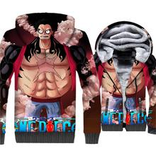 Anime One Piece 3D Hoodies Men Luffy Sweatshirt New Brand Winter Thick Fleece Zipper The Pirate King Coat Beard Newgate Jackets