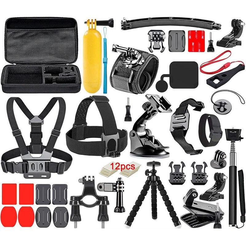 Ensemble d'accessoires pour caméra d'action pour GoPro Hero7 6 5 4 3 2 boîtier Yi 4 K stabilisateur sangle de montage tête poitrine accessoires pour Sjcam Gopro