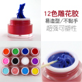 12 Colors Nail Art Carving Gel Nail UV Gel Professional 3D Colorful Acrylic Carving Gel Nail Tip Decorations Manicure Tools