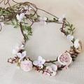 Woodland Pink Flower Beach Wedding Hair  Wreath Bridal Headband Tiara Handmade Accessories Women Jewelry