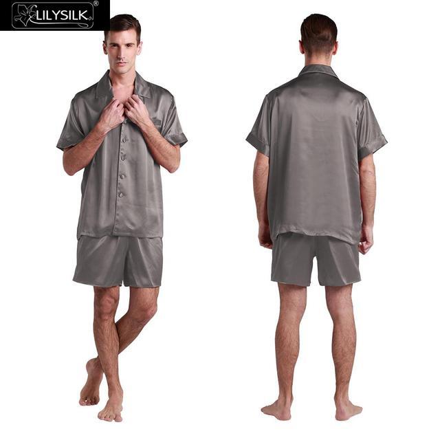 Conjunto Pijama De Seda Lilysilk Chino Hombres Corto Con el Boxeador Yukata diseñador Masculino Gris Oscuro 22mm Traje Sexy Ropa de Dormir de Invierno hombre